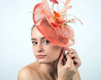 Coral derby fascinator ombre cream coral fascinator mini hat CORAL PARKETTE