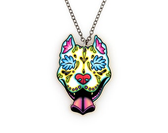 Slobbering Pit Bull - Day of the Dead Sugar Skull Dog Necklace