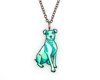 CLEARANCE SALE Regularily 14.95 - Pit Bull Terrier in Seafoam Green - Watercolor Tattoo Necklace