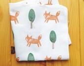 fox tenugui hand towel. fox woodland handkerchief. japanese pure cotton wash cloth. party napkin. hand stamped body cloth. birthday gifts