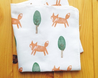 fox tenugui hand towel. fox woodland handkerchief. japanese pure cotton wash cloth. party napkin. hand stamped body cloth. birthday gifts