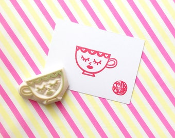 mrs tea cup hand carved rubber stamp. mother cup stamp. afternoon tea stamp. diy birthday wedding scrapbooking. party prop making