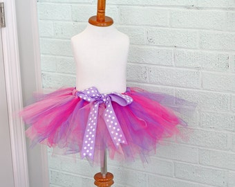 ready to ship...SAMPLE sale...12 month tutu...colorful polka dot bow..DOC MCSTUFFINS colors