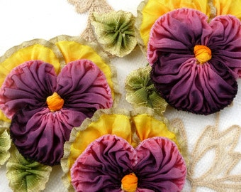 Ruffled Metal and Ombre Ribbon Pansy