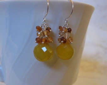 Chalcedony Garnet Earrings with Gemstone Cluster in Silver