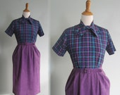 RESERVED last chance clearance Vintage Purple Plaid Office Dress - 70s Violet Two Tone Dress by Serbin - Vintage 1970s Dress S M