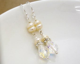 Crystal and Ivory freshwater pearl earrings, crystal wedding earrings, Sterling silver, Clear crystal bridal jewelry
