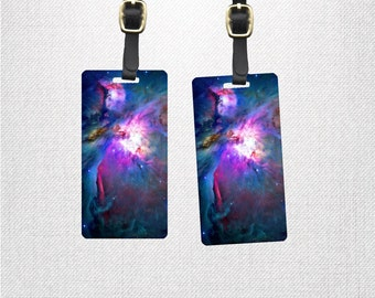 Orion Nebula Galaxy Outer Space Tags Personalized Luggage Tags | Metal Tag Set with Custom Backs | 2 Tags