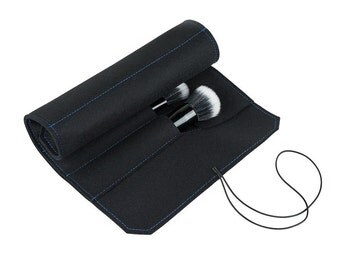 "Wool Felt Brush Case Roll - Black, 15.74"" x 9.44"", 6 Large Brush Slots with Flap, 100% Wool"