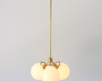 Brass Chandelier, FREE SHIPPING, 3 White Glass Globes, Modern Industrial Hanging Pendant Lighting Fixture