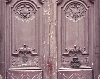 Paris Photography - Weathered Door in Mauve, Travel Architecture Photography, Fine Art Photograph, Large Wall Art, French Home Decor