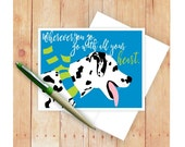 Dalmatian Card, Dog Card, Graduation Card, Dog Greeting, Dog Art, Wherever You Go Go With All Your Heart, Dog Stationery, Dog Lover Gift