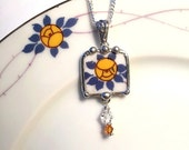 Broken china jewelry pendant necklace antique porcelain Art Nouveau yellow rose with crystals