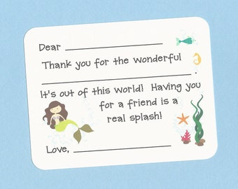 Mermaid Birthday Party Thank You Cards - Fill in the Blank Thank Yous - Choose Your Hair Color