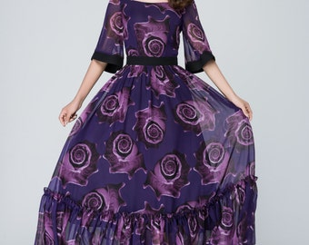 Purple dress, floral dress,  print dress, chiffon dress,prom dress,bridesmaid dress,party dress, long bridesmaid dress, Custom dress,  1546