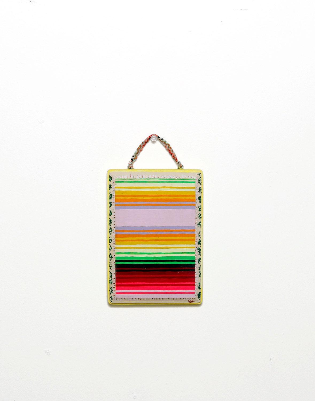 "ORIGINAL ""Serape No. 0"" Acryla Gouache Painting on Wood Plaque -- Mexican Blanket -- Surf Beach -- Modern Minimal -- Earthy Tones -- 5x7"""