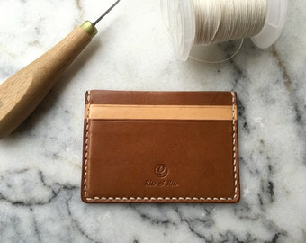 Personalized Slim Leather Wallet, Handmade Leather Wallet, Italian Leather Wallet, Credit Card Case