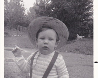 Vintage Snapshot of an Incredibly Cute Little Boy in Suspenders and a Hat