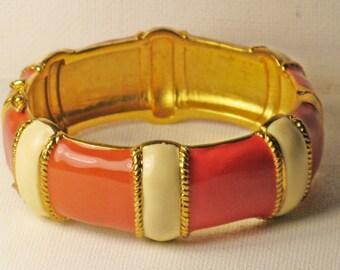 Vintage Salmon Pink and Creamy White Enameled Hinged Clamper Bangle Bracelet (BR-3-2)