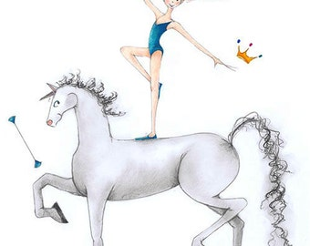 "Equestrian-Majorette Art-8""x10""Limited Edition Print-Redhead Girl Twirler-Teal-White/Grey Horse-Batons-Vaulting Riding Twirling-Illustration"