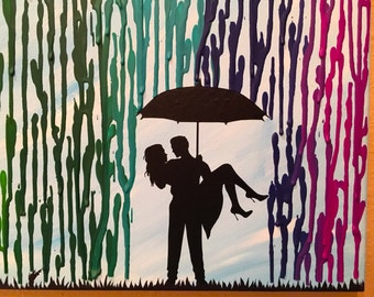 Housewarming Gift Home Decor, Melted Crayon Art, Rainbow Painting, Man Carrying Woman Silhouette Art, Rainbow Rain Unique Wedding Gift 16x20