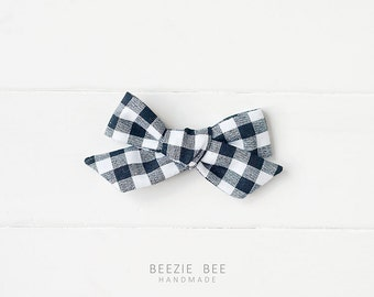 """The Schoolgirl Bow in """"Black Gingham"""" - Hand Tied Fabric Bow - Babies, Toddlers, Girls - Nylon Headband or Clip"""