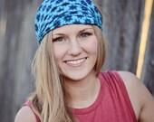 Head Scarf Headwrap, Blue Headwrap, Floral Head Cover, Dreadlock Head Cover, Blue Headscarf Fashion (#2214) S M L X