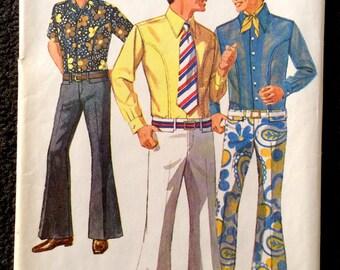 Vintage 1969 Men's Bell Bottom Pants & Body Shirt Pattern Simplicity 8255 Sz 34/30