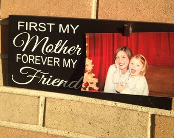 """Mother and Daughter Photo Clip Board/Picture Frame/Wood Sign/Black/Personalize/Rustic Sign/Family Sign/Friendship/DAWNSPAINTING/6"""" x 12"""""""