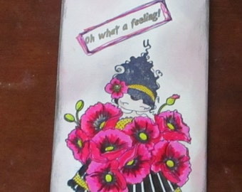 Bookmark Pretty Girl, Poppies, Oh what a feeling! pink and black ribbon