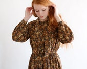 Roses and rust, Japanese vintage dress, small - medium