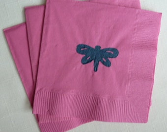 Butterfly Paper Cocktail/ Luncheon/ Dinner Napkins - Bright Pink and Navy Blue