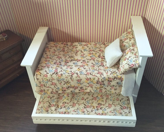 Beautiful Miniature Dressed Trundle Bed, White With Floral Print Bedding, Dollhouse Miniature,  1:12 Scale, Dollhouse Furniture, Mini Bed