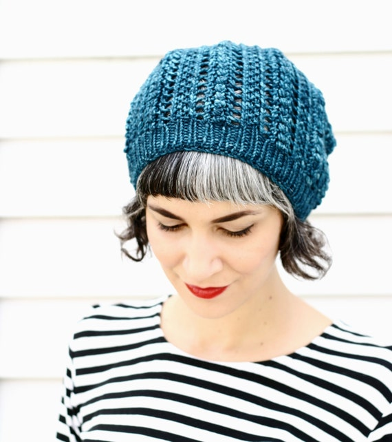 Knit Beanie Pattern Worsted Weight : Items similar to Worsted weight Popcorn Lace Hat knitting ...