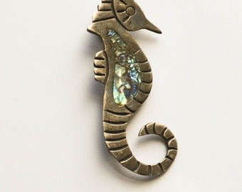 Silver and Abalone Taxco Seahorse Brooch Mexican Silver Jewelry Sterling and Abalone JHE