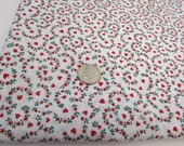 Heart Fabric, Small Print Fabric, 1 Yard 10 Inches, Red Hearts Fabric, Hearts and Flowers, Calico Material, Cotton, White Green Red, Cotton