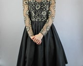 Vintage 80s Victorian Steampunk Style Gold Black Lace Formal Party Full Skirt Dress