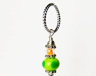 Green Bead Ball Pendant, Citrus Lampwork Pendant, Statement Pendant, Round Tribal Pendant, Handbag Accessory, Lampwork Keyring