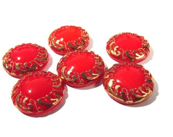 Red Moonglow Glass Shankless Buttons West Germany VINTAGE Red Gold Luster Buttons Six (6) Vintage Buttons Jewelry Sewing Supplies (F90)