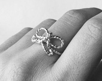 Forget Me Knot ring Sterling silver ring silver bow ring twist ring rope jewelry infinity ring forget me not ring