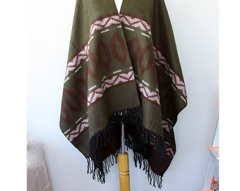 Poncho Olive green Navajo cape Aztec poncho Tribal cape Native outerwear Women clothings Bohemian poncho khaki brown burgundy Holiday gift