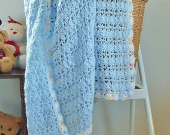 Blue Baby Blanket, Handmade Crochet Afghan, Knitted Boy or Girl Blanket Pastel Border, Baby Gift