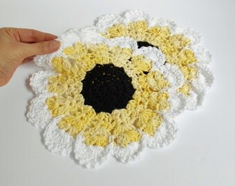 Crochet Cotton Dishcloth Huge Yellow Sunflower Coaster Candle Mat Doily, Handmade Knitted Dish Cloths SET OF 2