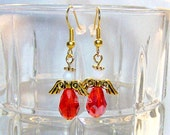 USA Red Crystal Teardrop Angel Earrings with Gold Plated French Hooks