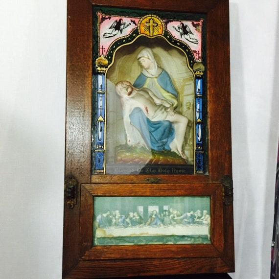 Wedding Altar Call: GEORGE Antique Last Rite Religious Catholic Wooden Viaticum