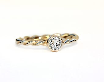 Solitaire Diamond Twisted Band Engagement Ring - 14k Palladium White Gold, Yellow Gold, Rose Gold - Ethically Sourced Conflict Free Recycled