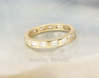 baguette diamond eternity band -- anniversary ring with gypsy set diamonds