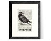 Edgar Allan Poe Nevermore over Vintage Edgar Allan Poe Book Page - Great Gift Idea for Edgar Allan Poe Fans - The Raven - Poe Gifts - Goth
