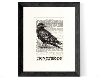 Edgar Allan Poe Nevermore Over Rescued Vintage Edgar Allan Poe Book Page - Great Gift Idea for Edgar Allan Poe Fans - The Raven - Poe Gifts