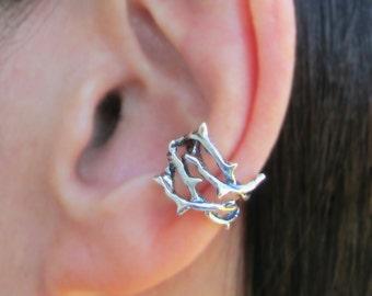Thorn ear cuff Sterling Silver earrings jewelry woven crown of thorns earrings Sterling silver ear cuff Small clip men & women C-218